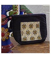 cotton cosmetic bag, 'mesmerizing beige' (mexico)