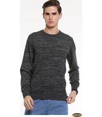 suéteres manga larga algodón gaupucean para hombre-negro