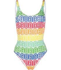 dsquared2 vintage logo swimsuit - white