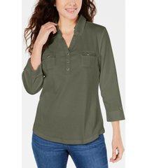 karen scott 3/4-sleeve woven shirt, created for macy's