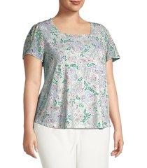 cooper & ella women's plus paisley-print top - white green blue combo - size 1x (14-16)