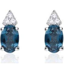 orecchini a lobo in oro bianco con topazio ovale blu e zirconi per donna