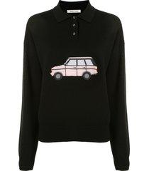 sandy liang polo shirt sweater - black
