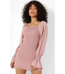 petite gesmokte mini jurk met grote mouwen, blush