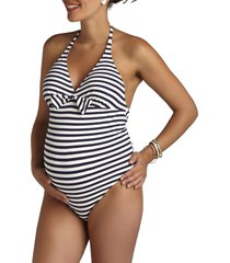 women's pez d'or stripe one-piece maternity swimsuit, size x-large - blue