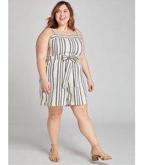 lane bryant women's textured stripe tie-waist romper 18 embroidered stripe