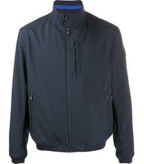boss long sleeve zipped bomber jacket - blue
