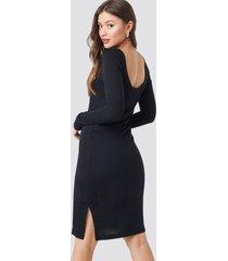 na-kd viscose deep back dress - black