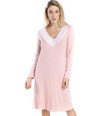camisão feminino de inverno rosê com renda