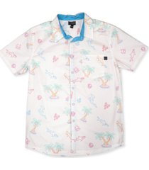 maui and sons men's lights out tropical print woven short sleeve shirt