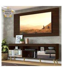 """rack c/ painel e suporte p/ tv 65"""" c/ espelho e pés retrô flórida multimóveis duna/natural"""