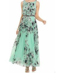 zanzea vestido largo sin manga gasa flor playa casual -verde