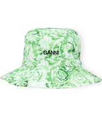 women's ganni print poplin bucket hat, size x-small/small - green