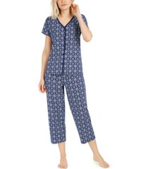 charter club cotton cropped pants pajama set, created for macy's