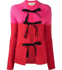 marni colour-block tie-front cardigan - pink