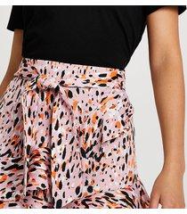 river island womens pink animal print frill hem shorts