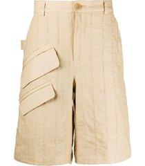 jacquemus vertical-stripe bermuda shorts - neutrals