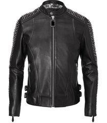 mens philipp plein full black handmade studded on sleeves leather jacket