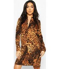 maternity leopard print shirt dress, tan