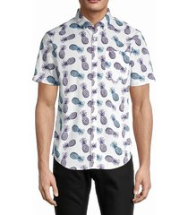 original penguin men's pineapple-print cotton shirt - dark sapphire - size l