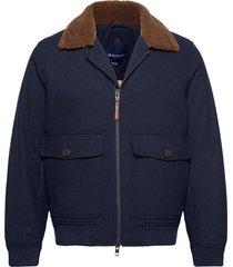 d2. wool flight jacket wollen jack jack blauw gant