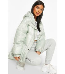 petite hooded belted puffer jacket, sage