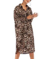 abito chemisier abbottonatura asimmetrica con orlo di leopardo