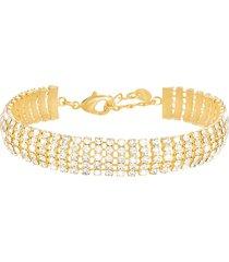 bracciale dorato e strass multifilo per donna
