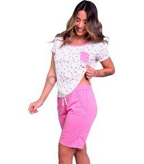 pijama bella fiore modas estampado com bolso hadassa rosa - rosa - feminino - poliã©ster - dafiti