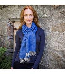 ladies' herringbone lambswool scarf blue one size