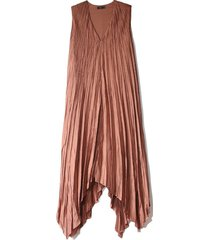 silk habotai checker dress in dusty rose