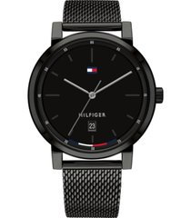 tommy hilfiger men's black stainless steel mesh bracelet watch 43mm