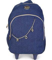 mochila escolar infantil luxcel moranguinho com rodinhas alça e acessórios