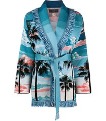alanui palm tree belted cardigan - blue