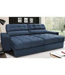 sofã¡ retrã¡til e reclinã¡vel com molas ensacadas cama inbox master 2,32m tecido suede azul - incolor - dafiti
