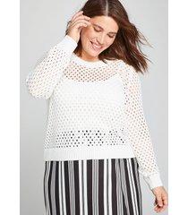 lane bryant women's open-stitch pullover sweater 22/24 ivory