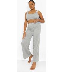 plus gestreepte wide leg woman pyjama, grey