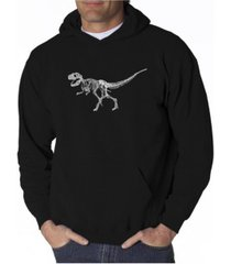 la pop art men's word art hooded sweatshirt - dinosaur t-rex skeleton