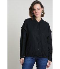 jaqueta bomber feminina em linho com bolsos preta
