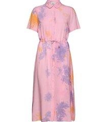 cello print dress knälång klänning rosa modström