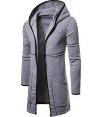 long sleeve open front longline hoodie
