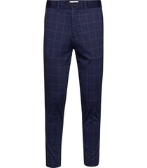 club pants - knitted check kostymbyxor formella byxor blå lindbergh