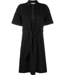calvin klein zipped belted shirt dress - black