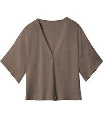 licht oversized gebreid vest met linnen, taupe 36/38