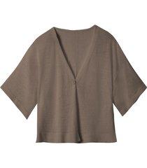 licht oversized gebreid vest met linnen, taupe 40/42