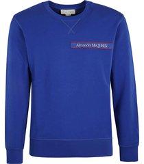 alexander mcqueen logo patched ribbed sweatshirt