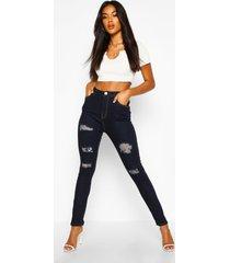 versleten skinny jeans met hoge taille, donkerblauw
