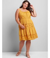 lane bryant women's sleeveless lace-inset fit & flare dress 14/16 golden spice