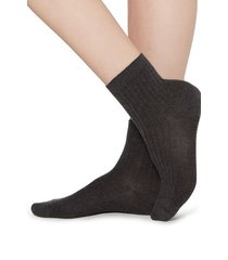calzedonia short ribbed socks with cotton and cashmere woman grey size 36-38