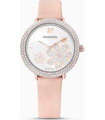 orologio crystal frost, cinturino in pelle, rosa, pvd oro rosa